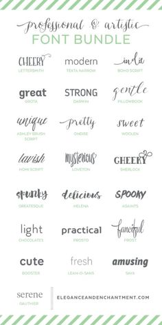 Professional and Artistic Font Bundle - a collection of typefaces in a variety of styles to keep you covered for any project that comes your way! Perfect for graphic designers, bloggers, crafters and ...