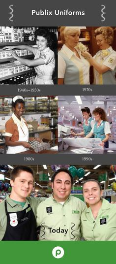 Publix uniforms have changed quite a bit over the years. Each decade brought a new look to the retail world.