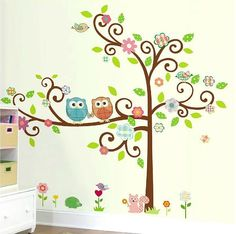 Nursery Room Wall Decals (Large Scroll Tree & Owls Wall Art, Removable Vinyl Stickers, DIY Home Decor) Nursery Artwork, Owl Nursery, Nursery Room, Kids Bedroom, Bedroom Ideas, Diy Nursery Decor, Diy Home Decor, Owl Wall Art, Tree Templates