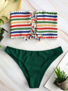 a0f99a5bf8a ZAFUL Lace-up Rainbow Striped Bandeau Bikini Set Bandeau Bikini Set