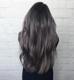 Dark smoky grey Aveda hair color by Aveda Artist Brittany Carven.
