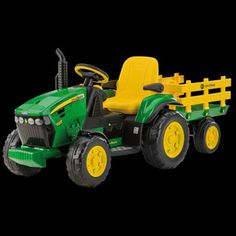 $299.99 - John Deere Ground Force takes outdoor play excitement to the next level! Kids will delight in listening to the FM radio while driving the large John Deere Ground Force Tractor with full–size detachable trailer! 2 to 7 year olds will load up the extra large trailer and deliver their payload. The adjustable seat also has flip–up armrests. 2–Speeds; 2¼ or 4½ mph, plus reverse, Smart Pedal accelerator, automatic brakes and 4WD farm tractor wheels make driving a breeze. Parents...