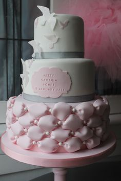 Birds and billows pink and grey christening cake