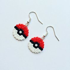 A pair of super-cute Pokeball earrings, perfect for any Pokemon fangirl (or fanboy!) Handmade using mini Hama / Perler beads with silver-plated