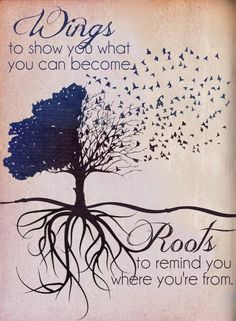 Wings to show you what you can become.Roots to remind you where you're from. This would be so cute to get as matching tattoos! One could get flying birds and the other could get the tree of life and roots! Positive Quotes, Motivational Quotes, Positive Life, Quotes Inspirational, Positive Thoughts, Roots And Wings, My Demons, Happy Sunday, Great Quotes