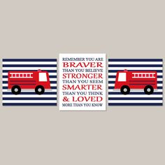 Boy Nursery Art Fire Truck Nursery Baby Boy Nursery Decor You Are Braver  Fire Engine Fireman
