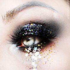 Glitter eye-makeup.