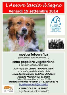 Scarperia (FI) - 19/9 cena #vegetariana e mostra fotografica a favore della Sezione di #Mugello #Valdisieve della #LegadelCane