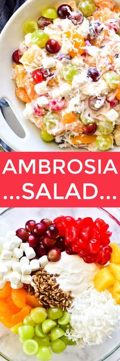 Ambrosia Salad – Lemon Tree Dwelling from { { FeedTitle} }{ { EntryUrl} } Shrimp Salad Recipes, Fruit Salad Recipes, Strawberry Recipes, Pasta Recipes, Cooking Recipes, Dessert Recipes, Healthy Recipes, Strawberry Sauce, Fruit Salads