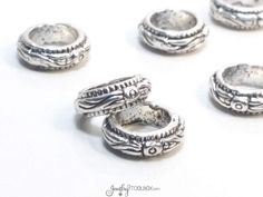 Rose Rondelle Beads, Extra Large Hole Beads, Silver Beads, Pewter Metal Beads, 7mm hole, 11x4mm, Lead Free, Lot Size 10 to 50,  #1305 BH