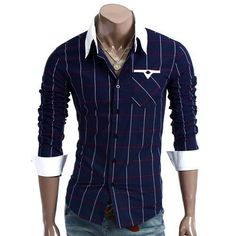 * this shirt is royal blue tartan * has five buttons and a target other blacks * has a bag sleeves and neck are white * el costo d * the cost of this shirt is this shirt is £ Mens High Collar Shirts, Mens Flannel Shirt, Casual Wear For Men, Casual Shirts For Men, Chemise Fashion, Men's Fashion, African Shirts, Stylish Shirts, Casual Dress Outfits