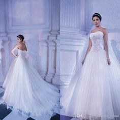 2015 Sexy A-Line Wedding Dresses Sheer Wedding Gowns Strapless Court Train Beading Sequins Custom Made White Bridal Gowns Organza, $204.73 | DHgate.com