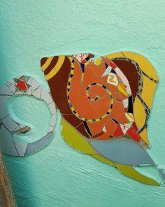 Caracol en Mosaico. Detalle del Mural Un Mar de Juegos. Julia Gurwicz y Ricardo Stefani. Jardín de infantes integral n1 Alfredo Palacios.