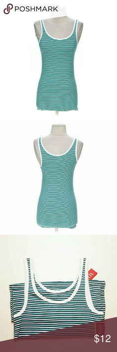 SALE Merona  Green/White Striped Tank Get the look you'll return to again and again with the Women's Favorite Tank. This sleeveless shirt gives you that cut you look for as a shell, layered with other tanks, or alone. A healthy dose of Modal in the construction gives it a luxurious feel while still featuring the easy wear/easy care convenience you love!! Merona Tops Tank Tops