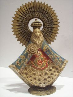 Old Wood Santos Saint Figure Figurine statue Icon Catholic Sanborns Mexico. By M. Cortez.  She is missing her right hand and the baby Jesus on her left (but the paint is in great  shape.) Our Lady of the Rosary (Rosario).