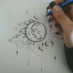 Beau tatouage soleil et lune! - Beau tatouage soleil et lune! - La mejor imagen sobre diy crafts para tu gusto Estás buscando algo y no has podido alcanzar la im - Cool Art Drawings, Pencil Art Drawings, Art Drawings Sketches, Tattoo Drawings, Drawing Art, Drawings About Love, Indie Drawings, Fairy Drawings, Psychedelic Drawings