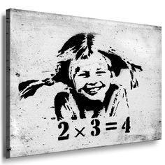 "Fotoleinwand24 - Banksy Graffiti Art ""Pipi Langstrumpf 2x3=4"" / AA0117 / Bild auf Keilrahmen / Schwarz-Weiß / 60x40 cm"