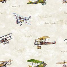 Vintage Planes Aviator Beige #rollershades #windowtreatments #windows #modernwindowtreatments #colors #patterns #airplanes #vintage #lightblue #kidsroom #boysroom