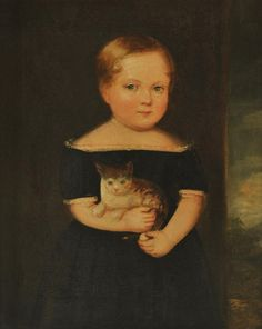 American School (second quarter 19th century) - Portrait of a Child with Kitten - Oil on canvas