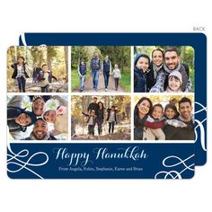 Navy Hanukkah Collage Photo Cards