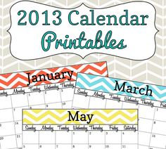 2013 Calendar Printable - Colorful Chevron - (With Editable Date Boxes) INSTANT DOWNLOAD