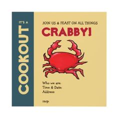 Red Crab sand Cookout Invitation
