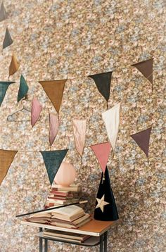 NIce subtle colours - a bit too sombre (and I'm not sure we need the wizard/dunce cap). These look a little too much like the usual decoration on my bedroom floor (i. Baby Decor, Kids Decor, Banner, Kid Spaces, Kidsroom, Bunting, Party Planning, Party Time, Creations