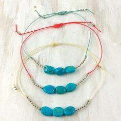 $46 Turquoise and Sterling Silver Bead Bracelet via boutiika.com