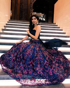 Khushi Kapoor Has Redefined Bridesmaid Outfit Goals At A Wedding - Indian designer outfits - Best Picture For Bridesmaid Outfit bridal shower For Your Taste You ar Indian Lehenga, Indian Gowns, Indian Attire, Blue Lehenga, Lehenga Choli, Anarkali, Designer Bridal Lehenga, Indian Bridesmaids, Bridesmaid Outfit