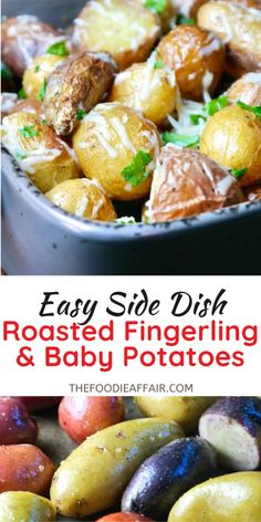 Creamy roasted fingerling potatoes with a mix of baby potatoes in olive oil seasoned with salt and pepper. This dish is finished with fresh grated parmesan cheese and parsley. Easy side dish for the whole year, but especially love this one for the holiday season. Check out the recie on The Foodie Affair blog. #sidedish #potatoes #fingerling #HolidaySideDishs Pasta Side Dishes, Pasta Sides, Potato Side Dishes, Healthy Side Dishes, Vegetable Side Dishes, Side Dishes Easy, Side Dish Recipes, Vegetable Recipes, Stuffing Recipes For Thanksgiving