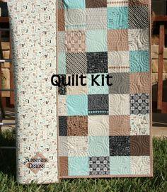 Quilt Kit Elementary Baby Boy Patchwork Crib Sweetwater Modern Letters Alphabet Number Aqua Black Brown Tan Blue Modern Designer Fabric by SunnysideFabrics