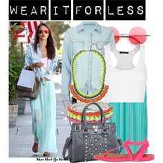A budget friendly look inspired by Alessandra Ambrosio's street style. This set costs $230 CDN!