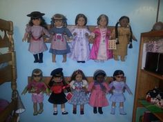 American girl doll rack made with oak and dowels.