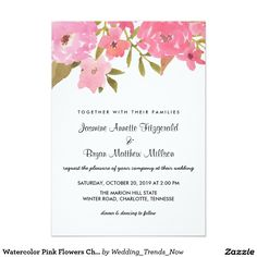 Watercolor Pink Flowers Chic Wedding Card