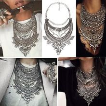 2016 Collar ZA Necklaces & Pendants Vintage Crystal Maxi Choker Statement Silver Collier Femme Boho Big Fashion Women Jewellery(China (Mainland))