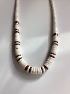 "Excited to share the latest addition to my #etsy shop: Heshi Beaded Necklace, Jasper and Shell, Vintage 1990s Handmade Necklace, 18"" White and Red MORE Southwest Jewelry to come at great prices! Check them out!  #heshi #beadednecklace #1990s"