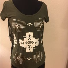 ☂️CC SALE☂️ Boho Aztec tee Very cool green Aztec print boho tee.  Tasseled down the sides. Fun, flirty, and fringed. Tops Tees - Short Sleeve