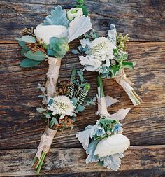 Alfresco Wildflower Boutonnieres with Lamb's Ear | Photo: Jillian Rose Photography.