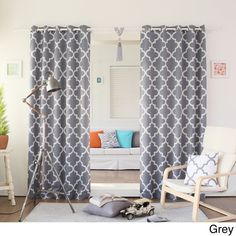 $75 Aurora Home Moroccan Tile 96-inch Window Curtain Panel Pair