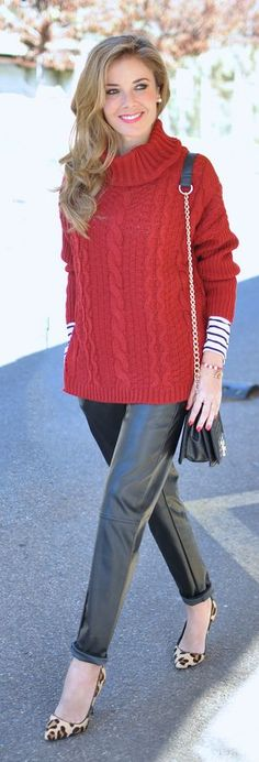 Red And Black Winter Outfit by Te Cuento Mis Trucos.