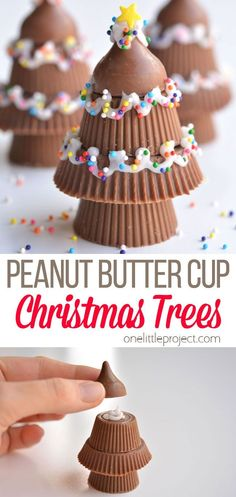 These peanut butter cup Christmas trees are SO CUTE! They go together really quickly and look absolutely adorable! They'd make a great dessert or snack at a Christmas party, and can even be wrapped up to give as a gift or party favour. Christmas Activities, Christmas Treats, Christmas Recipes, Christmas Tree Decorations, Christmas Cookies, Christmas Diy, Christmas Ornaments, Interesting Recipes, Great Desserts