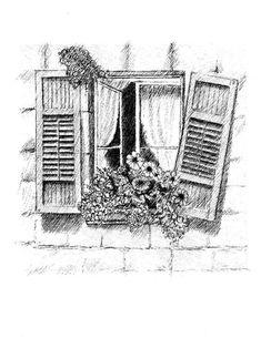 Old Window by Al Intindola Architecture Sketchbook, Art Sketchbook, Architecture Art, Landscape Pencil Drawings, Pencil Art Drawings, Cool Art Drawings, Art Sketches, Window Sketch, Cityscape Drawing