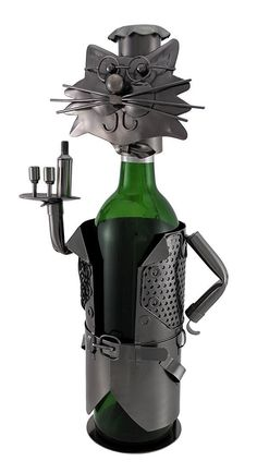 My cat serves me wine, what does yours do? What, your cat doesn't do tricks? Too bad, maybe this bottle holder might help.