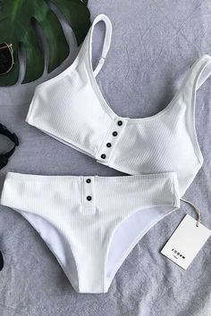 7c26c465c37 Trendy Beachwear for the Summer Chicnico Simple Front Button Bikini Solid  Color Bikini Set Discovred by : ally ✯