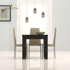 Τραπέζι 80x80 με ενισχυμένη τάβλα κατάλληλο για την τραπεζαρία και την κουζίνα. Από την Alphab2b.gr Dining Chairs, Dining Room, Wishbone Chair, Table, Furniture, Home Decor, Decoration Home, Room Decor, Dining Chair
