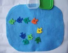 Children use numeral identification skills and counting skills to put the numeral fish in order on the blue felt (the pond). I made these by writing numbers on foam fish from the craft store (you can use any type of foam shape).        Read more: http://prekinders.com/numbers-counting/#ixzz1W2kAd2ia