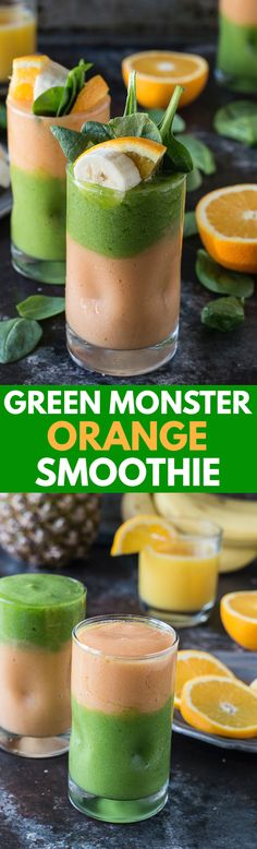 Monster Orange Smoothie | Two layer green monster orange smoothie ...