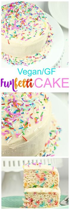 Vegan Gluten-Free Funfetti Birthday Cake. This classic birthday cake is a kids dream. It is sweet, moist, light, fluffy and is sure to impress both kids and adults at any party. Both vegan and gluten-free so anybody can enjoy it!
