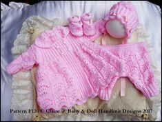 """Moss and feathered fan stitch coat set 16-22"""" doll (preemie-3m+ baby)"""