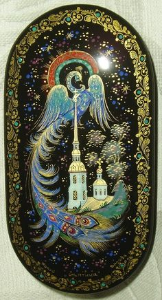 Russian lacquer miniature from the village of Kholuy. Firebird is a character of Russian folk tales.